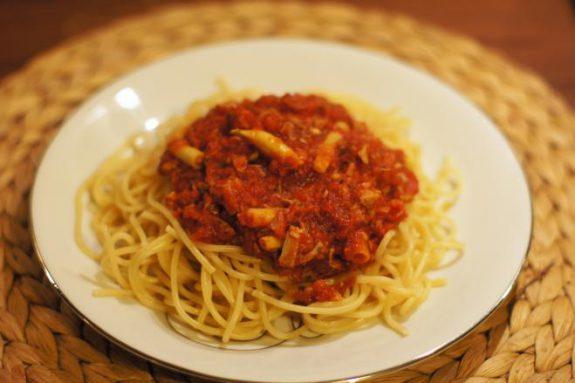 Spaghetti zpomidorami ifasolką szparagową