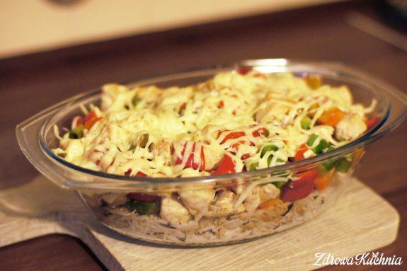 Zapiekanka ryżowa zkurczakiem ipapryką